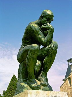 The Thinker, 1902 ~The Thinker is a bronze and marble sculpture by Auguste Rodin, whose first cast, of 1902, is now in the Musée Rodin in Paris; there are some twenty other original castings as well as various other versions, studies, and posthumous castings. It depicts a man in sober meditation battling with a powerful internal struggle.[1] It is often used to represent philosophy.  http://en.wikipedia.org/wiki/The_Thinker