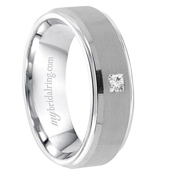Very stylish look with princess-cut diamond perfect fit in a men's wedding band - Our Price: $900.00