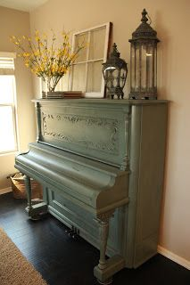 I'm sure I have broken some law by painting a piano blue... but I am in love with it! This antique piano is around 100 years old and I loo...
