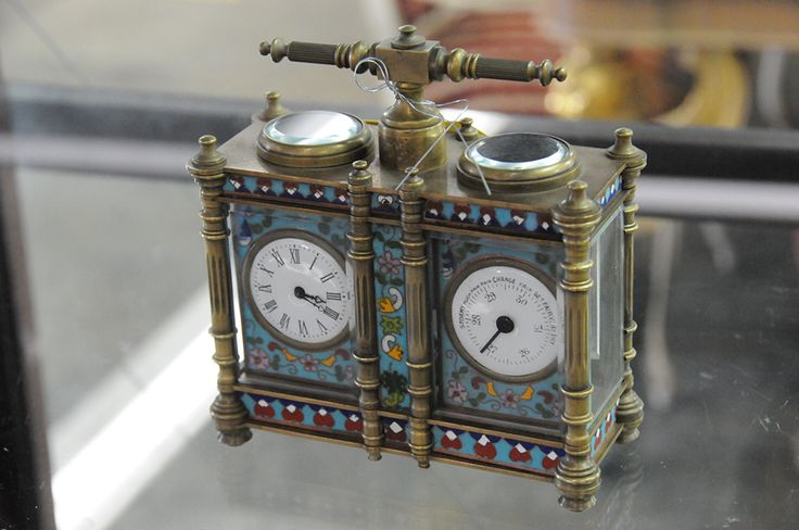 Chinese Champleve double clock