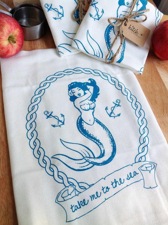 Mermaid Pin Up Tea Towel Retro Flour Sack Nautical Dish Cloth Summer Seashore Anchor Sailing Beach on Etsy, $8.00