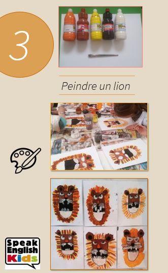 Dessiner un lion avec de la peinture