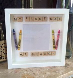 My First Day At School Scrabble Box Frame