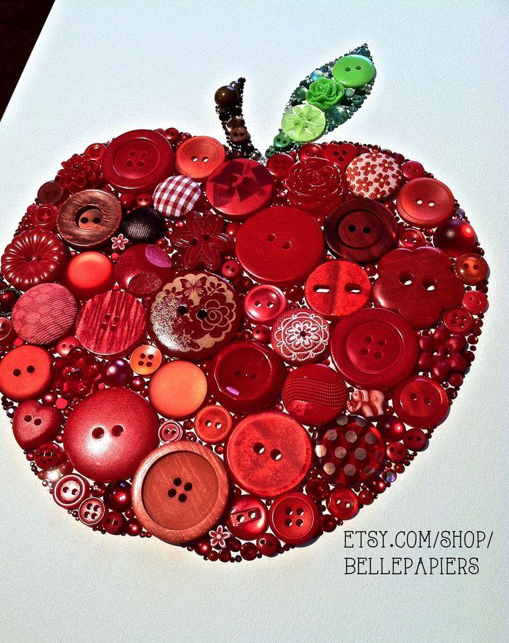 Button Art! Buttons & Swarovski Crystals. Bright, red apple!