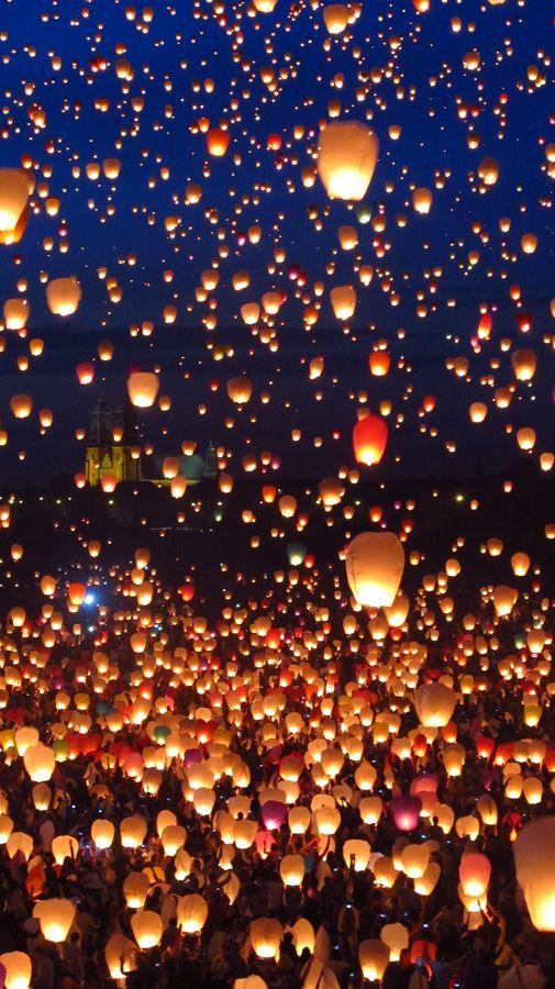 Floating lanterns,Thailand