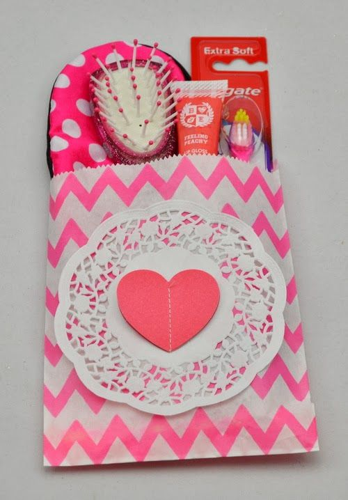 Party bag idea - using Craft Queen chevron party bag for a sleep over www.craftqueen.com.au
