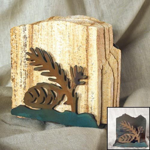 Natural Sandstone Coasters w/ Organic Patina Holder - Pinecone by stonegifts on Etsy