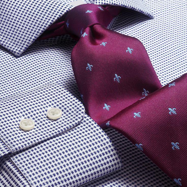 Navy Star weave cutaway Slim fit shirt | Men's formal shirts from Charles Tyrwhitt, Jermyn Street, London