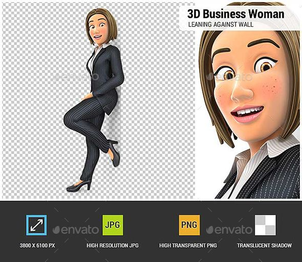 3d Business Woman Leaning Against The Wall Business Women Graphic Design Templates 3d Characters