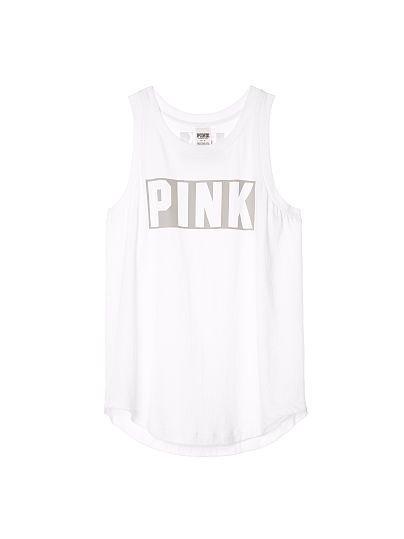 Rib Neck Muscle Tank PINK