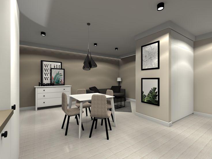 Mieszkanie prywatne. Beże przełamane czernią.  Projekt i wizualizacje: ArteCubo, Wrocław. #Livingroom #kitchen #interior #design #modern #monochromatic #wood #black #board #beige #grey #wroclaw #artecubo