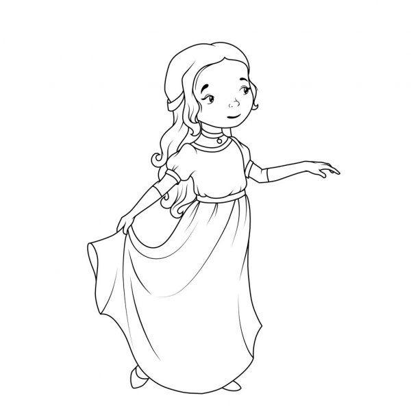Coloring Book Cartoon Girl Wearing Classic Long Dress Stock Vector Sponsored Girl Wearing Cartoon Co Girl Cartoon Cute Cartoon Girl Happy Cartoon