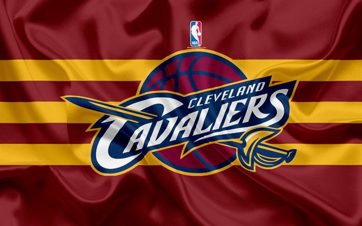 Download wallpapers Cleveland Cavaliers, Basketball Club, NBA, emblem, logo, USA, National Basketball Association, Silk Flag, Basketball, Cleveland, Ohio, US Basketball League, Central Division