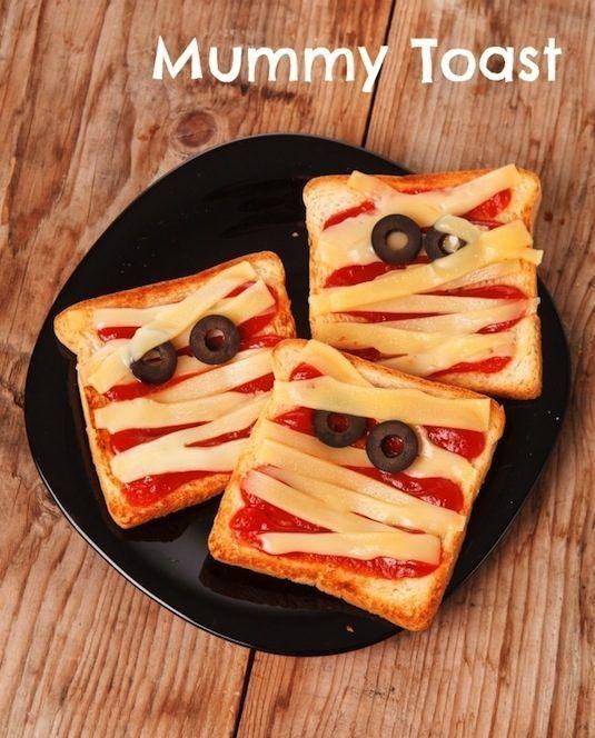 64-non-candy-halloween-snack-ideas-mummy-toast