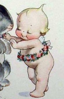 Vintage Kewpie Postcard Close-Up