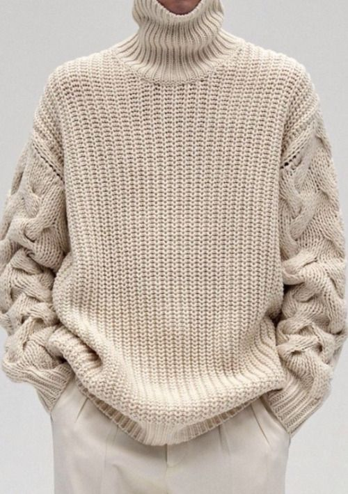 neutral oversized cable knit turtleneck #style #Fashion