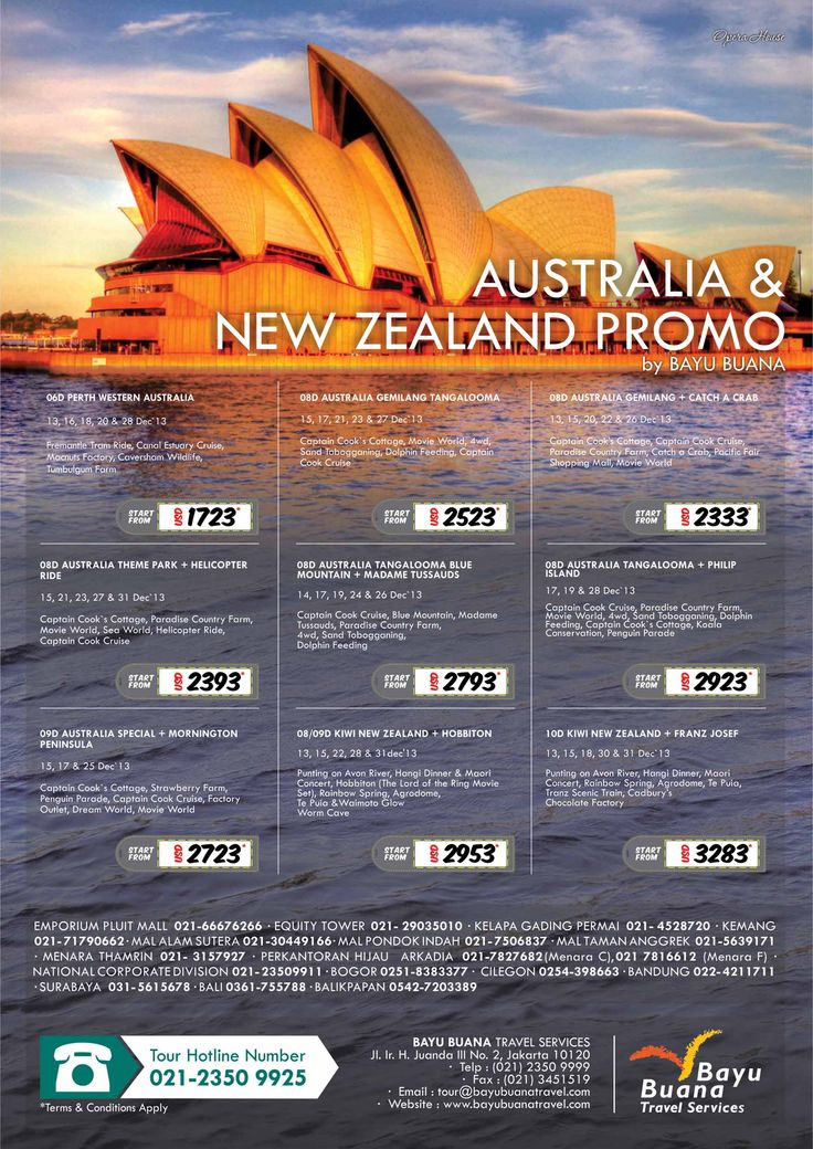AUSTRALIA & NEW ZEALAND PROMO    Christmas & Year End Holidays    Call now on 021 23509999 or visit Bayu Buana branch offices