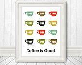 Coffee, Coffee Print, Coffee Art, Coffee Poster, Mid Century Art, Retro, Coffee is Good - 11x14