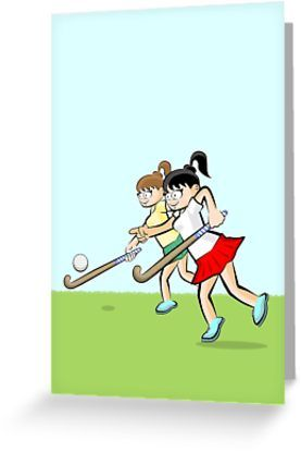 Girls Hitting The Ball With The Hockey Stick Greeting Card By Megasitiodesign Hockey Stick Cartoon Styles Funny Illustration