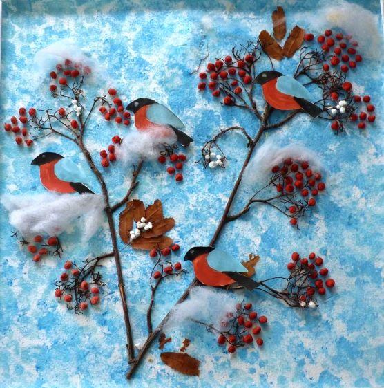 Детские поделки - Красногрудые снегири Использование фотографий для коллективной работы