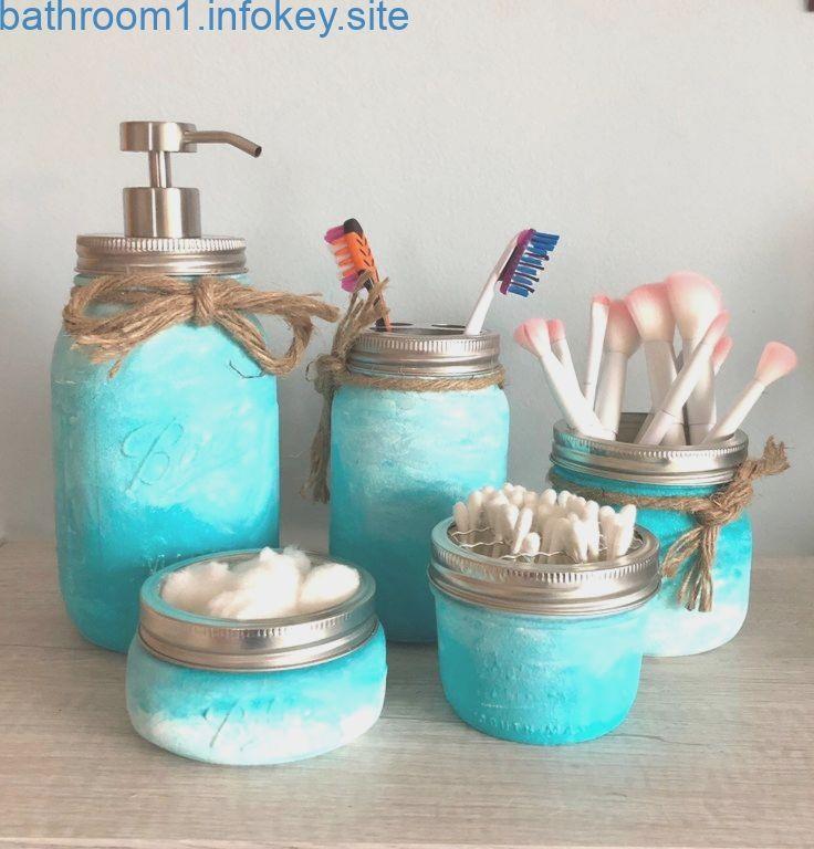 5-teiliges Einmachglas Badaccessoires-Set, Türkis / Petrol / Dekor, Make-up Pinselhalter, Schreibtischa …