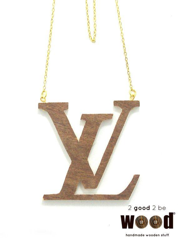 Handmade & Handpainted Wooden LOUIS VUITTON Fashion Necklace