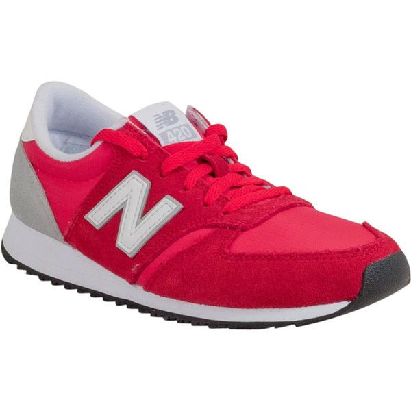 New Balance 420 Women's Low-Top Sneaker (1,225 MXN) ❤ liked on Polyvore featuring shoes, sneakers, red, red retro shoes, rubber sole shoes, new balance shoes, suede low top sneakers and suede sneakers