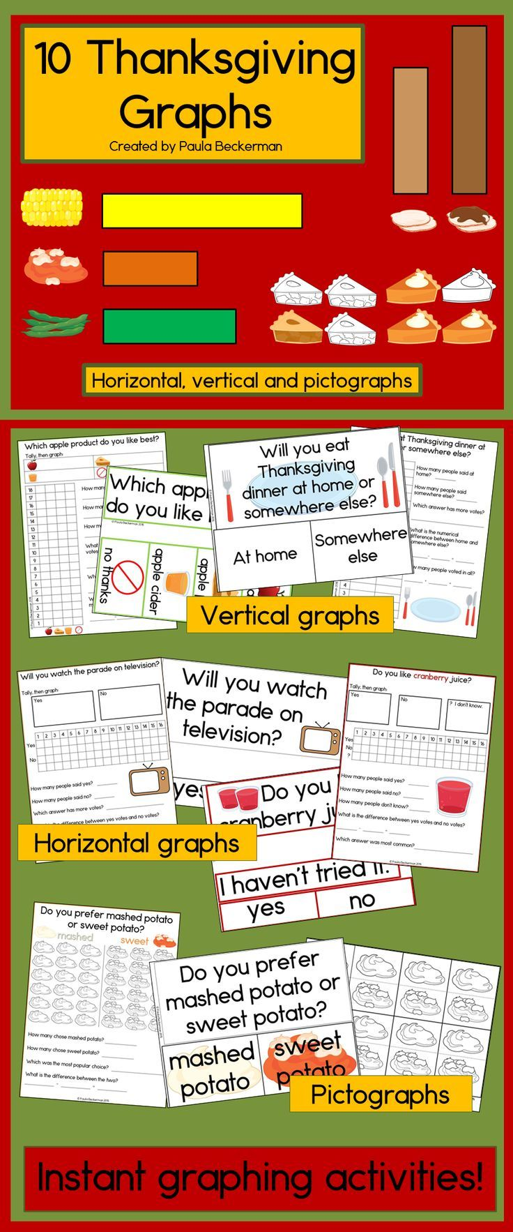 worksheet Thanksgiving Graphs 82 best thanksgiving classroom fun images on pinterest graphs horizontal vertical and pictographs