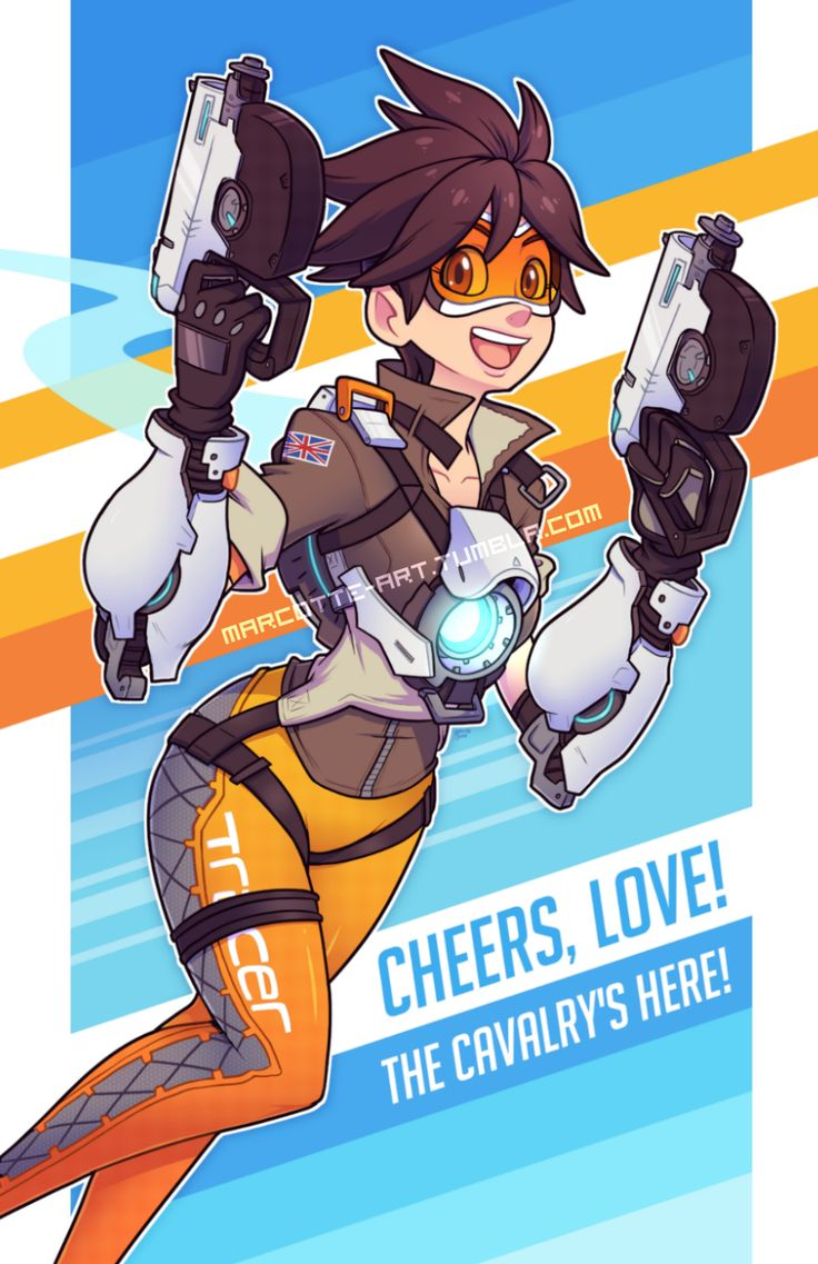 """marcotte-art: """" Tracer [Overwatch] Tracer is done! At first, I was gonna emphasize the obvious meme associated with this character, but decided I should highlight her free spirit personality instead. I hope this does her justice. What a fun character..."""