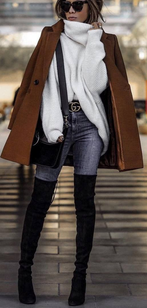cozy outfit inspiration / brown coat oversized sweater bag skinny jeans over knee boots