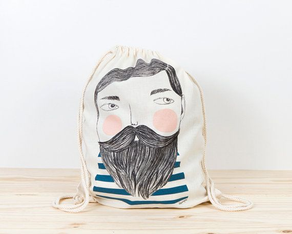 Bearded Backpack tote sailor backpack depeapa hipster by depeapa