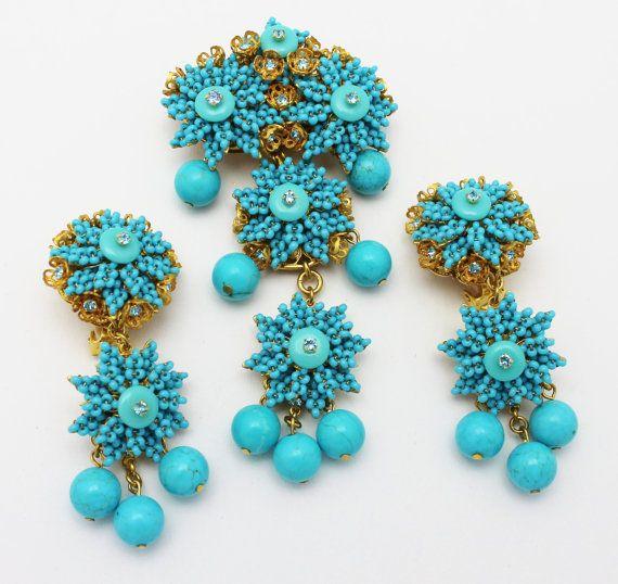 Stanley Hagler N.Y.C. Turquoise Blue Brooch and Earrings Set