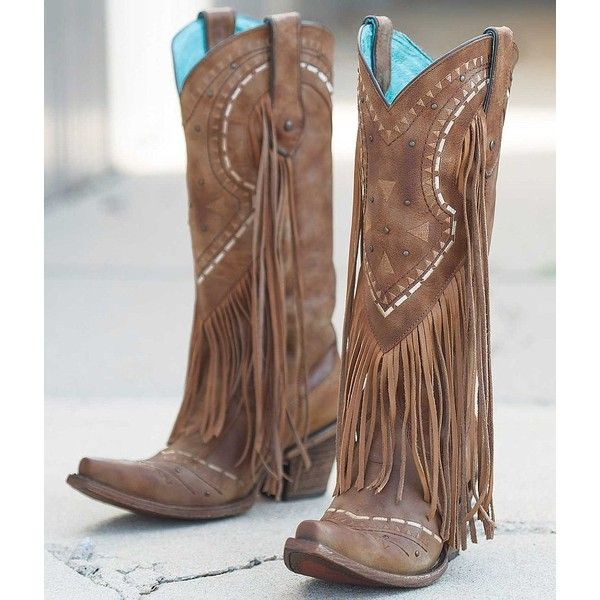 Corral Fringe Cowboy Boot - Brown US 9-1/2 (£195) ❤ liked on Polyvore featuring shoes, boots, brown, cowboy boots, brown cowgirl boots, brown leather boots, leather cowboy boots and corral boots