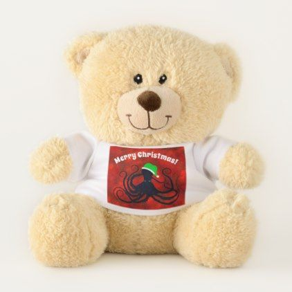 Christmas Octopus On Red - Small Teddy Bear - baby birthday sweet gift idea special customize personalize