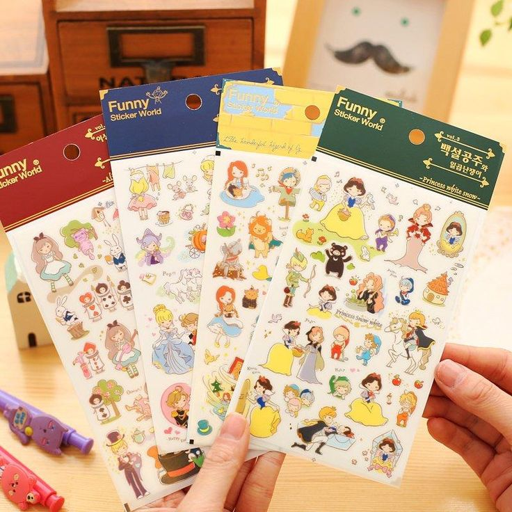 4 pcs/Lot Fairy Tales stickers Princess story White snow Cinderella Alice OZ Funny sticker world for phone diary girl gift 6926