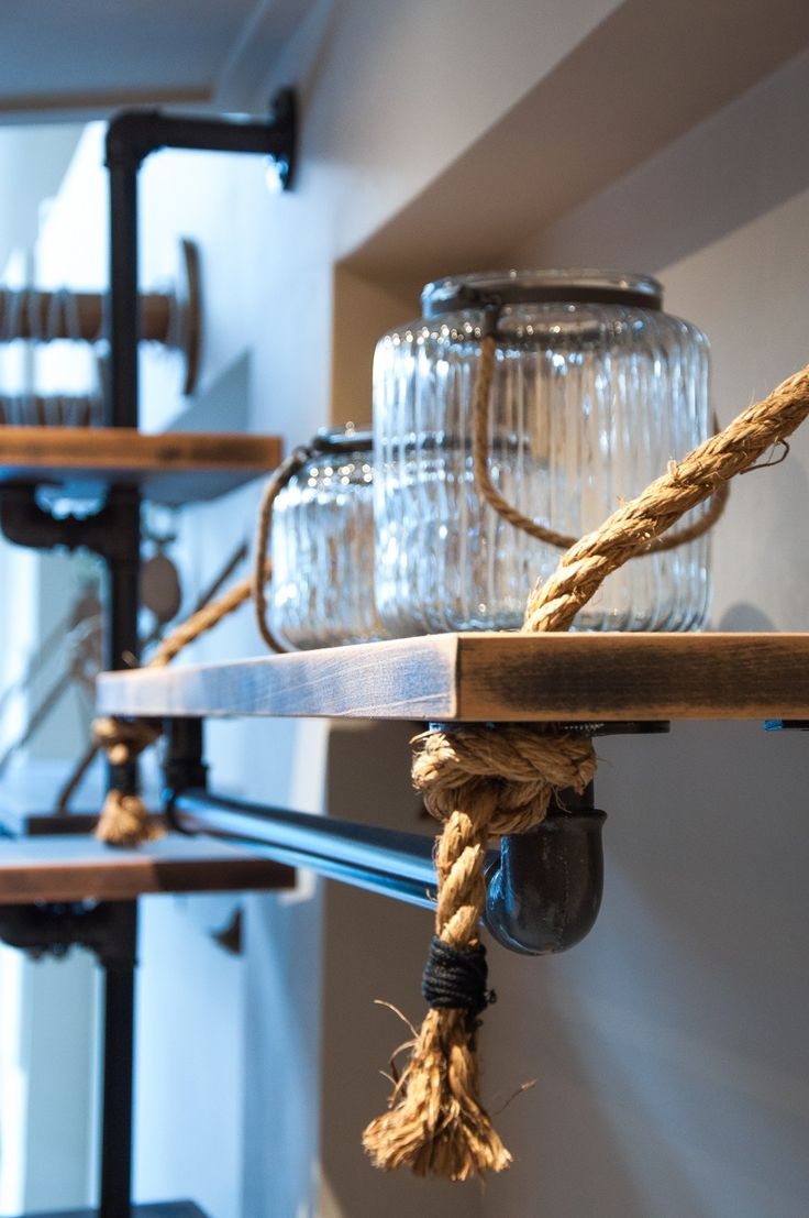 Industrial wooden shelving and jars for accessories | by Nikos Kyriazis