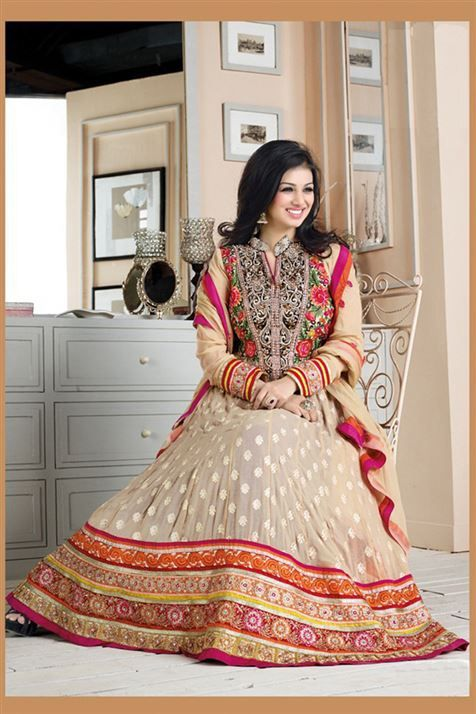 Enticing Ayesha Takia Beige Georgette Heavy Embroidered Long  Anarkali Suit