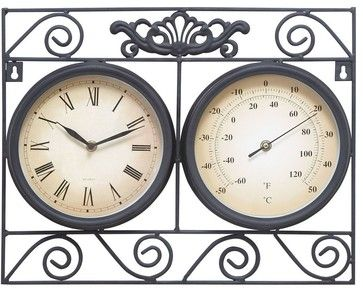 Metal Outdoor Clock Thermometer with Different Dials - traditional - Outdoor Decor - Modern Furniture Warehouse