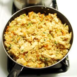 "Chinese Fried ""Rice"" made with Cauliflower --  *Approved for all Phases -----  *Do not eat more than 1 time per week due to egg/fat content. -----  *Makes 4 servings (counted as one cup veggie) OR  *Makes 2 servings (counted as two cups veggies)"