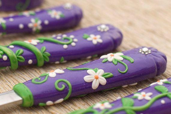Purple Serving Cutlery Set Wedding gift Spoon by RadArtaDesign
