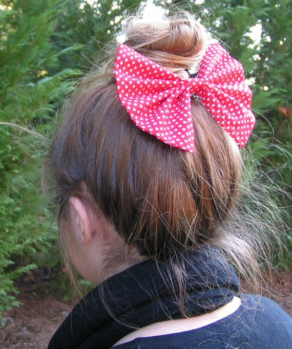Red and white hearts fabric bow for teens and women, big hair bows for teens,girls hair bows,handmade bows, cotton bows on Etsy, $7.99