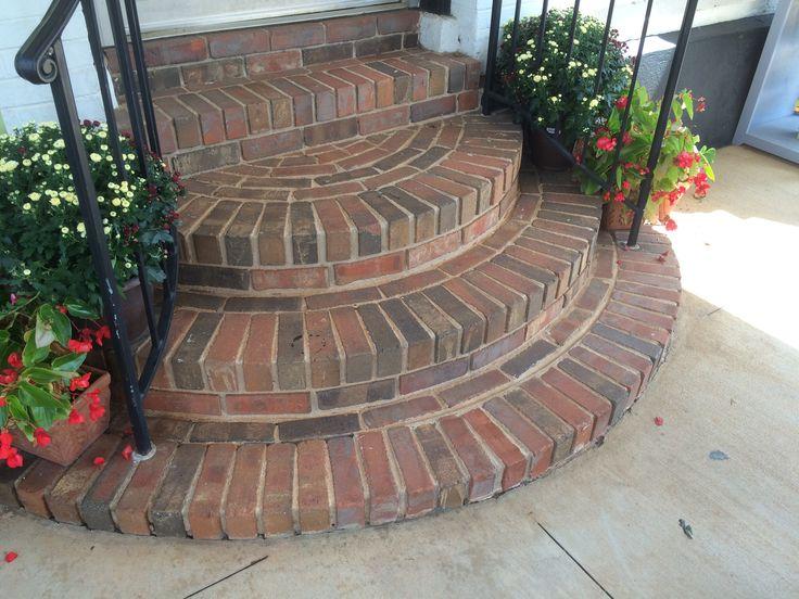 Brick steps at entry   Brick steps, Porch stairs