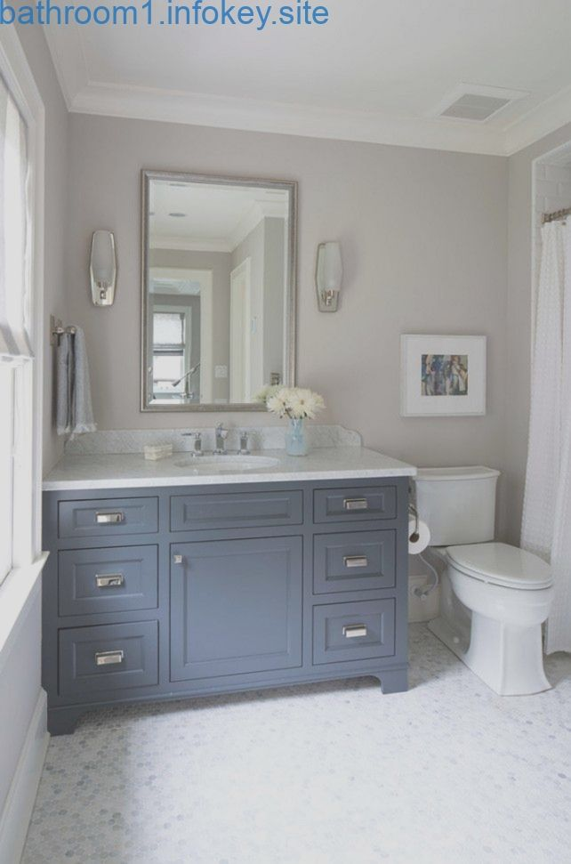 Navy Cabinet Paint Color Is Benjamin Moore French Beret 1610 Wall Paint Color I Bathroom Colors Grey Bathroom Vanity Painting Bathroom