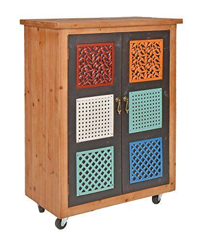 Korpus aus Holz, Türen aus MDF (Mitteldichte Holzfaserplatte)  Maße: ca. Breite 64,5 cm x Höhe 86 cm x Tiefe 35 cm, Gewicht ca. 13,4 kg  Zwei braune Türen mit bunten Mustern aus Metall