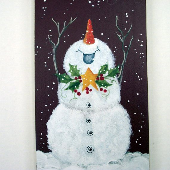 He doesn't even care what's in front of him, because he is so happy for what's above him!  Joyful snowman   handpainted Christmas art  wall by holidayhijinks