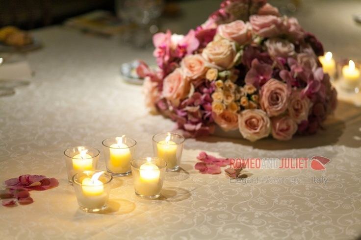 flowers and candles to create a romantic decor