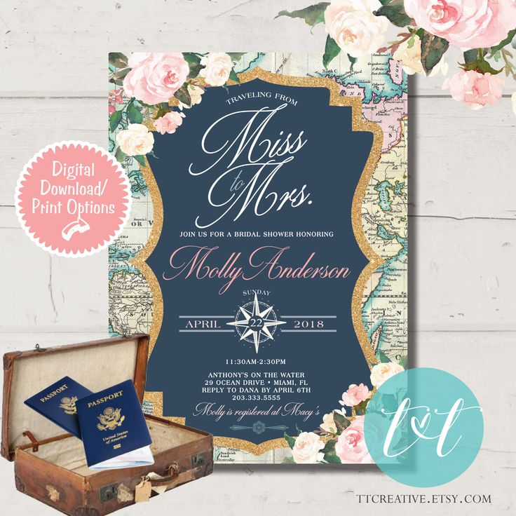 blank beach bridal shower invitations%0A Bridal Shower Invitation  Traveling from Miss to Mrs Bridal Shower by