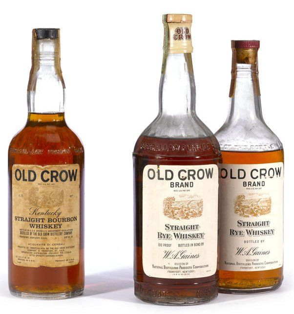 Old Crow Straight Rye Whiskey Distilled Spring 1938, bottled Fall 1942 (quart-100 proof),  Old Crow Straight Bourbon circa 1940's (4/5 quart- 86.8 proof, 4 years old).  (2 bottles)