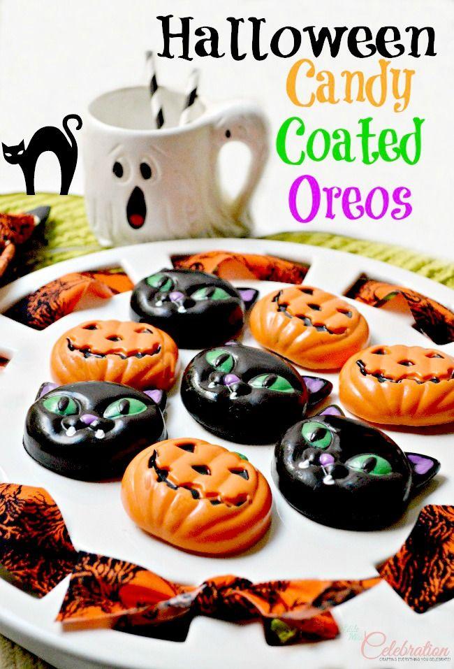 Fun, festive Halloween Candy Covered Oreos - it's Halloween on a plate! littlemisscelebration.com
