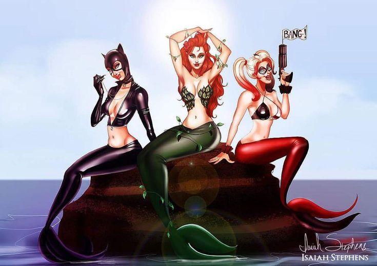 """Mermaid  #MerMay The DC comics """"Gotham Sirens"""" as . . . SIRENS! #mermaid #mermaidhair"""